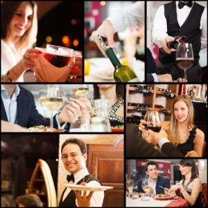 Collage of people eating, drinking and having fun in restaurants