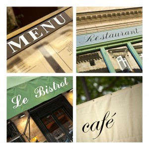 French bistros and restaurants on a collage