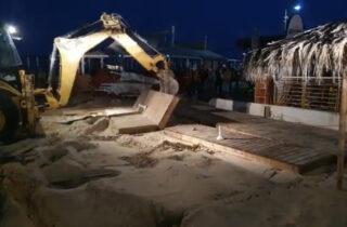 Незаконное кафе на пляже Нетании было демонтировано