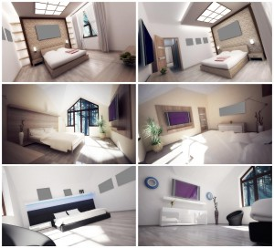 3d interior of three hotel rooms