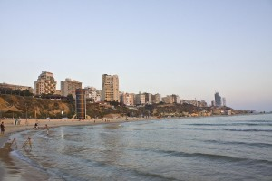 Popular Israel resort Netanya, view on the beach and town from sea