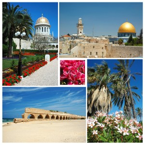 Collage of Israel landmarks -old Jerusalem,Bahai temple at Haifa and Caesarea aqueduct