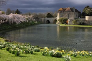 Leeds Castle in Kent, United Kingdom - bridge entrance to the castle in the spring.