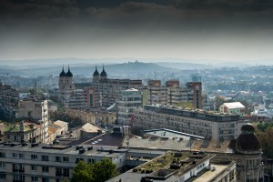 Panoramic view over est european town - Iasi, Romania
