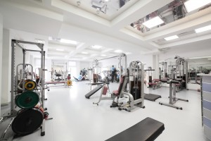 interior of new modern gym with equipment